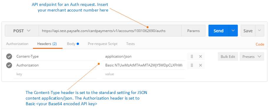 Example of sending an Auth request in JSON format using Postman